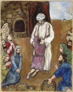 """russian-avantgarde-art: """"Joseph has been recognized by his brothers via Marc Chagall Size: 62x49 cm Medium: gouache, oil on paper"""""""