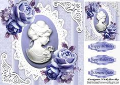 Pretty mauve roses with cameo on vintage lace 8x8 on Craftsuprint - Add To Basket!