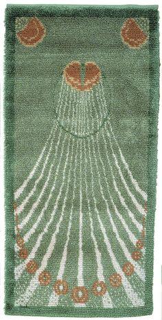 Rya Rug, Wool Rug, Scandinavian Embroidery, Scandinavian Rugs, Art Nouveau, Latch Hook Rugs, Floor Cloth, Rug Hooking, Handmade Crafts