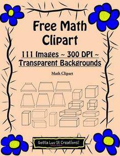 Free Math Clipart ~ 111 Images ~ 300 DPI ~ Transparent backgrounds **math, clipart, geometry, area, prisms, cylinders, geometric, 3-D, 2-D Math Resources, Math Activities, Math Clipart, Third Grade Math, Sixth Grade, Math School, Secondary Math, Math Classroom, Classroom Ideas
