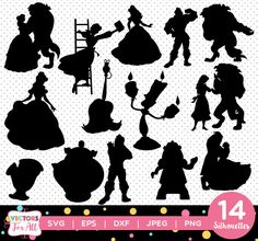 Beauty and the Beast Silhouettes pack - Princess Belle Silhouettes Collection Disney vector clipart digital download svg, png, jpg, eps by VectorsForAll on Etsy