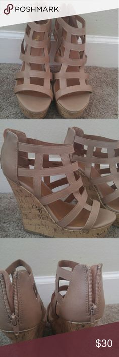 Tan Charlotte Russe Gladiator style Wedges Tan Gladiator style wedges. Like new! Worn twice! Great condition! Charlotte Russe Shoes Wedges