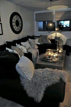 salon noir et gris, décoration de salle de séjour simple et cosy