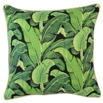 Outdoor Cushion Cover-Banana Leaf-Green-Black-45cm x 45cm-With Piping