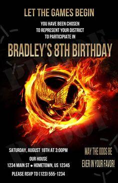 DIY PRINTABLE - Hunger Games Birthday Photo Invitations $12.00