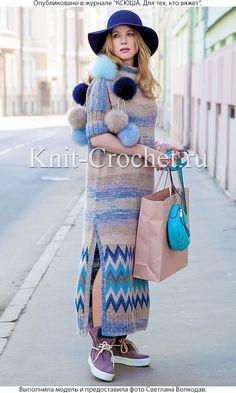 Связанное на спицах платье с жаккардовым узором 48-50 размера.
