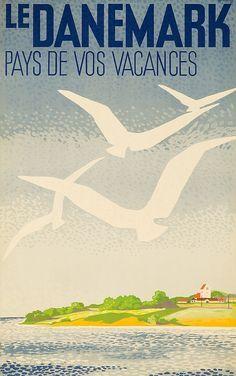 Vintage Travel Poster - Denmark - by Henrik Hansen.