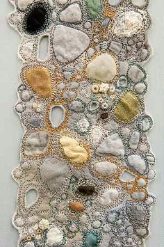 Louise Watson Texture Like the bubbly look of it. #texture #embrodery #bubbles #rocks #design