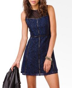 Contrast Paneled Lace Shift Dress $29.80 also in Cream/black