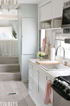 TIDBITS ON WHEELS is ready for the big debut! Tour our fifth wheel RV renovation, we completely transformed into our tiny house while we build our home, true to my signature Cottage Romance TIDBITS style. Motorhome Interior, Rv Interior, Rv Living, Tiny Living, Simple Living, Tiny House Cabin, Tiny Houses, Tiny Cabins, Trailer Decor