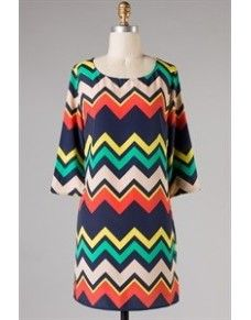 Multi Color Chevron Dress so colorful! Only $42.