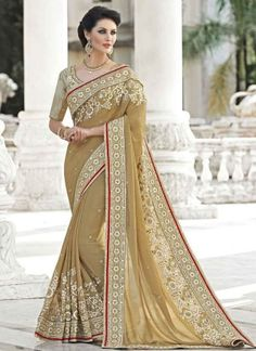 Beige sari with resham floral embroidery Beige net georgette crepe Zari and resham embroidered border Comes with matching unstitched blouse Lehenga Sari, Georgette Sarees, Silk Sarees, Indische Sarees, Party Kleidung, Online Shopping Sarees, Cheap Dresses Online, Online Clothes, Trendy Sarees