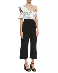 TVP87 Self-Portrait Monochrome Frill Jumpsuit, Black/White