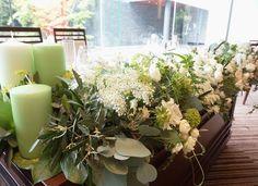 #VressetRose #Wedding #white #banqet #natural#Flower #Bridal # ブレスエットロゼ #ウエディング# ホワイト#グリーン#バンケット# ブーケ# ナチュラル#小花#ユーカリ# ブライダル#結婚式 Wedding Table Flowers, Wedding Centerpieces, Candles, Rustic, Table Decorations, Green, Plants, Image, Furniture