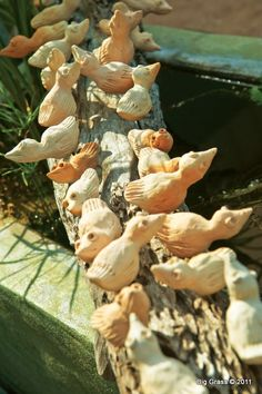 Looking for beautiful, eco-friendly decor for your outdoor sanctuary? You must see this Clay Birds on Reclaimed Wood Sculpture by our friend, Thai artist Dang.  Eco-Luxury for Home & Garden www.BigGrassLiving.com