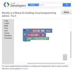 Blockly is a library for building visual programming editors. Blockly Games is a series of educational games that teach programming. https://blockly-games.appspot.com/about