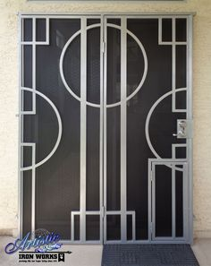 Delicieux Modern Style Wrought Iron Security Screen Double Door With Doggy Door