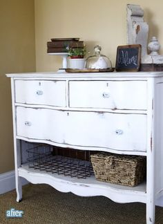 Love the idea of a dresser minus a drawer for open storage