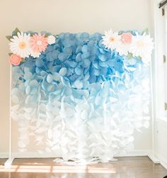 The Original Paper Circle Garland Backdrop: Blue Ombre - ***This backdrop does NOT include the paper flower pieces.** This gorgeous blue ombre paper garland - Birthday Decorations, Wedding Decorations, Garland Wedding, Decor Wedding, Diy Paper, Paper Crafts, Circle Garland, Backdrop Stand, Backdrop Lights