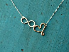 Infinity Heart Necklace Sterling Silver and Gold I'll love you to Eternity Best Friends gift Girlfriend gift