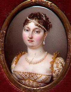 Ensemble de 9 miniatures représentant la famille impériale : portrait de Catherine de Wurtemberg, femme de Gérôme.