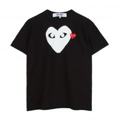 A black t-shirt with the classic Comme Des Garcons logo as designed by Filip Pagowski as a small embroidered badge and a large white print logo. Embroidered Badges, Heart Logo, Two Hearts, Designer Clothes For Men, Print Logo, Online Fashion Stores, London Fashion, Fashion Forward, Mens Tops