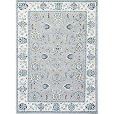 nuLOOM Traditional Persian Floral Silver/ Aqua Rug (7'10 x 10'10)