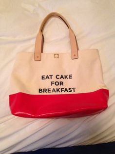 Kate Spade Call To Action Eat Cake For Breakfast Tote EXCELLENT Condition