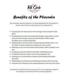 Placenta benefits, animals do it, maybe we should too?:)