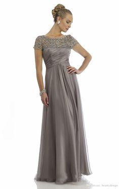 Vintage 2015 Sheer Mother Of The Bride Dresses A-line High Collar Short Cap Sleeves Beaded Gray Long Brides Mother Dresses For Weddings