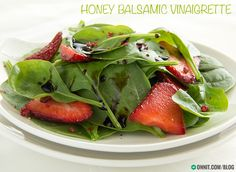 Olive Oil, Balslamic Vinegar, Honey, Minced Garlic, Himilayan Salt, and Black Pepper combine to make a sweet & healthy dressing.