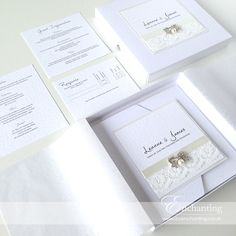 The Snow White Collection - Ivory Lace Invitation Suite Lace Invitations, Invitation Suite, Snow White, Presentation, Ivory, Place Card Holders, Cards, Beautiful, Collection