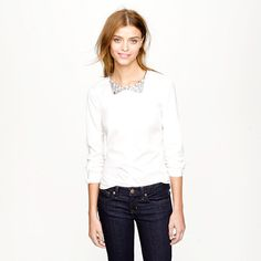 J. Crew Collection Crystal Necklace Shirt!