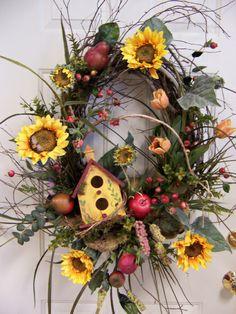 6) Birdhouse Wreath, Fall Wreaths