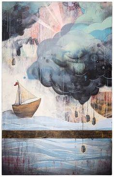 When it Rains, it Pours by Erik Otto #boat #clouds #painting #art #illustration #ship