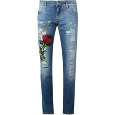 Dolce & Gabbana rose patch boyfriend jeans (£840) ❤ liked on Polyvore featuring jeans, pants, bottoms, pantalones, blue, dolce gabbana jeans, boyfriend fit jeans, torn jeans, destroyed boyfriend jeans and destroyed jeans