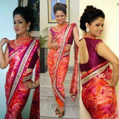 Anchor shilpa chakraborthy in drape sari by designer Premika Reddy