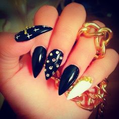 black and gold sharp and cold.. bad ass nails dope nails