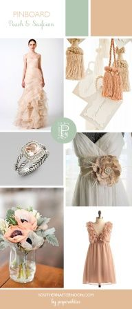 Pretty Peach  Seafoam Wedding pinboard by Paperwhites, a stationery boutique
