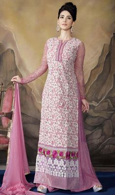Amass compliments wherever you go dressed in this pink color embroidered georgette palazzo suit. The lace, resham and stones work looks chic and best for any function.  #palazzosuits #palazzodresses #casualpalazzodress