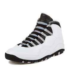 Nike Mens Air Jordan Retro 10 Steel 10 WhiteBlackGrey Leather Basketball Shoes Size 10 * See this great product.