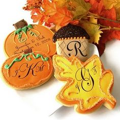 cute fall cookies   even without the monogram