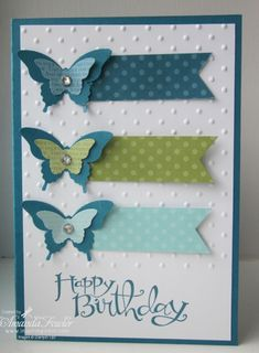 Stampin Up! Butterfly Card by Amanda Fowler Inspiring Inkin Handmade Birthday Cards, Happy Birthday Cards, Greeting Cards Handmade, Butterfly Cards Handmade, Butterfly Birthday Cards, Tarjetas Diy, Embossed Cards, Stamping Up Cards, Paper Cards
