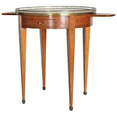 Antique Fruitwood Bouilotte with White Marble Top
