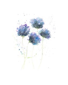 Watercolor painting, watercolor flowers, flower art, watercolor poppies, floral decor, modern flowers, original painting, blue flowers, 5X7 on Etsy, $22.00