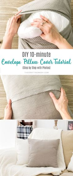The easiest and quickest way ever to make an envelope pillow cover in just a few minutes minutes! Learn how to sew an envelope pillow cover using one piece of fabric. pillow covers DIY Envelope Pillow Cover Tutorial (Step by Step with Photos How To Make An Envelope, Diy Envelope, Envelope Tutorial, Diy Tumblr, Crochet Pillow Cases, Throw Pillow Cases, Bolster Pillow, Pillow Fabric, Neck Pillow