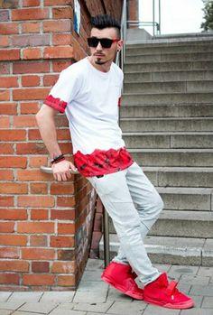 Urban fashion, street style, red yeezys, menswear