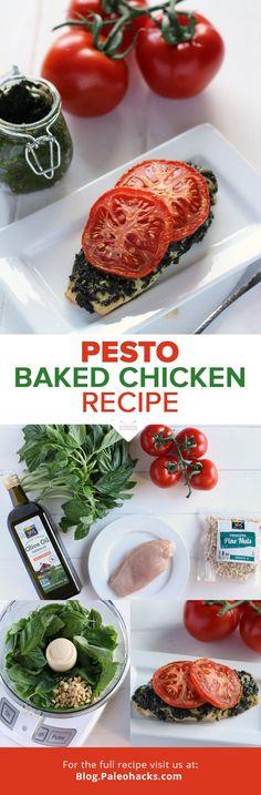 Pesto Baked Chicken Recipe  #justeatrealfood #paleohacks