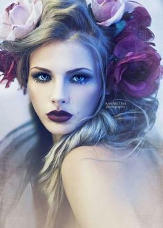 Love the combination of eye make up with the lipstick. DGaray Photo by Amanda Diaz - Flowers in her hair - Floral/Fashion