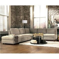 Nice Signature Design By Ashley Tosha   Linen Armless Sectional With Storage  Ottoman On Left   Turk